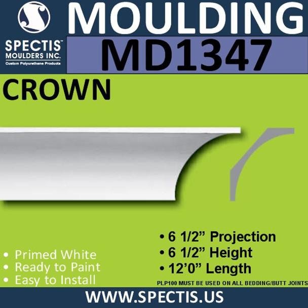 """MD1347 Spectis Crown Molding Trim 6 1/2""""P x 6 1/2""""H x 144""""L"""