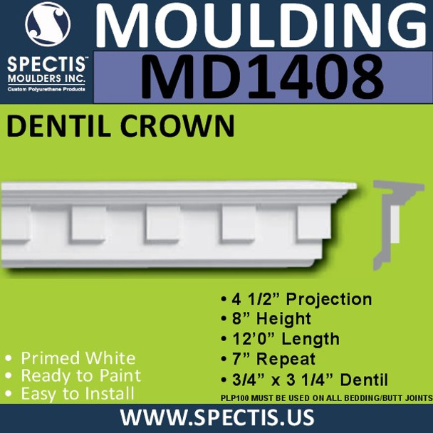 """MD1408 Spectis Molding Dentil Trim 4 1/2""""P x 8""""H x 144""""L"""