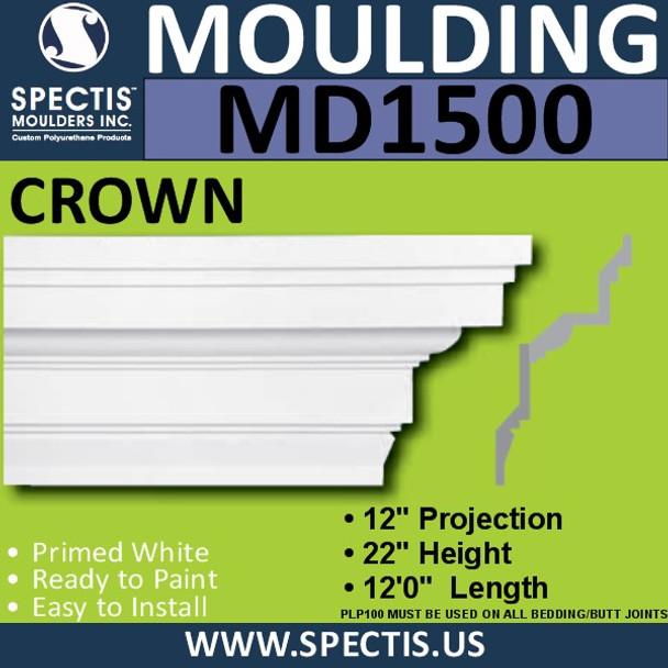 """MD1500 Spectis Crown Molding Trim 12""""P x 22""""H x 144""""L"""