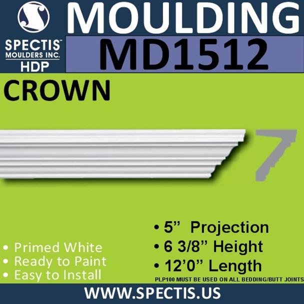 """MD1512 Spectis Crown Molding Trim 5""""P x 6 3/8""""H x 144""""L"""