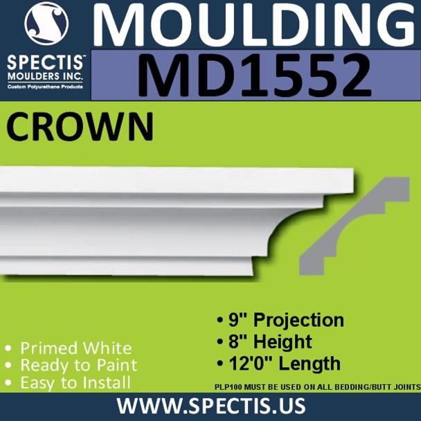 """MD1552 Spectis Crown Molding Trim 9""""P x 8""""H x 144""""L"""