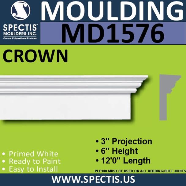 """MD1576 Spectis Molding Base Cap Trim 3""""P x 6""""H x 144""""L"""