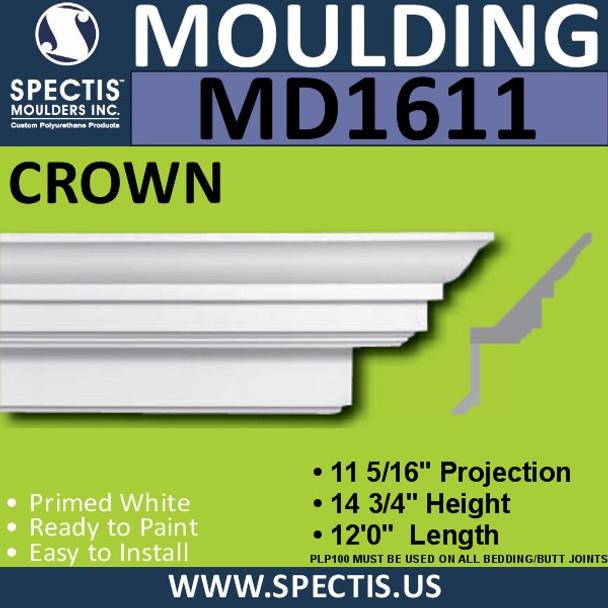 """MD1611 Spectis Crown Molding 11 5/16""""P x 14 3/4""""H x 144""""L"""