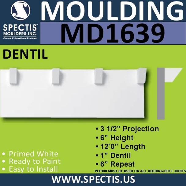 """MD1639 Spectis Molding Dentil Trim 3""""P x 6""""H x 144""""L"""