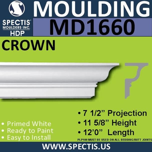 """MD1660 Spectis Crown Molding Trim 7 1/2""""P x 11 5/8""""H x 144""""L"""