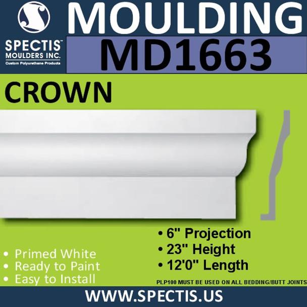 """MD1663 Spectis Crown Molding Trim 6""""P x 23""""H x 144""""L"""