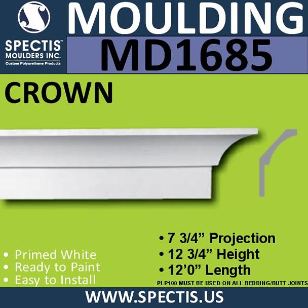 """MD1685 Spectis Crown Molding Trim 7 3/4""""P x 12 3/4""""H x 144""""L"""