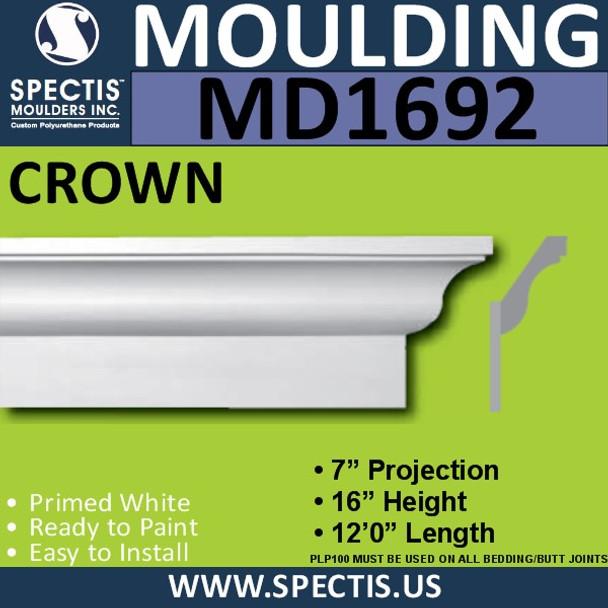 """MD1692 Spectis Crown Molding Trim 7""""P x 16""""H x 144""""L-2 PARTS"""