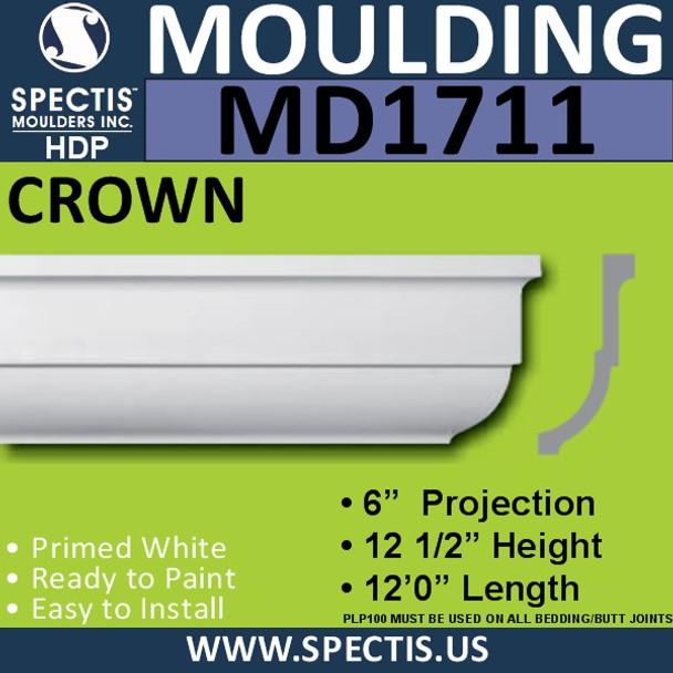"""MD1711 Spectis Crown Molding Trim 6""""P x 12 1/2""""H x 144""""L"""