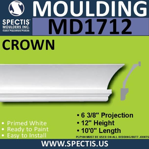 """MD1712 Spectis Crown Molding Trim 6 3/8""""P x 12""""H x 120""""L"""