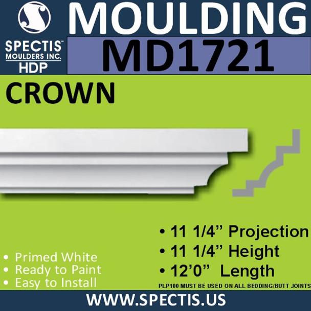 """MD1721 Spectis Crown Molding Trim 11 1/4""""P x 11 1/4""""H x 144""""L"""