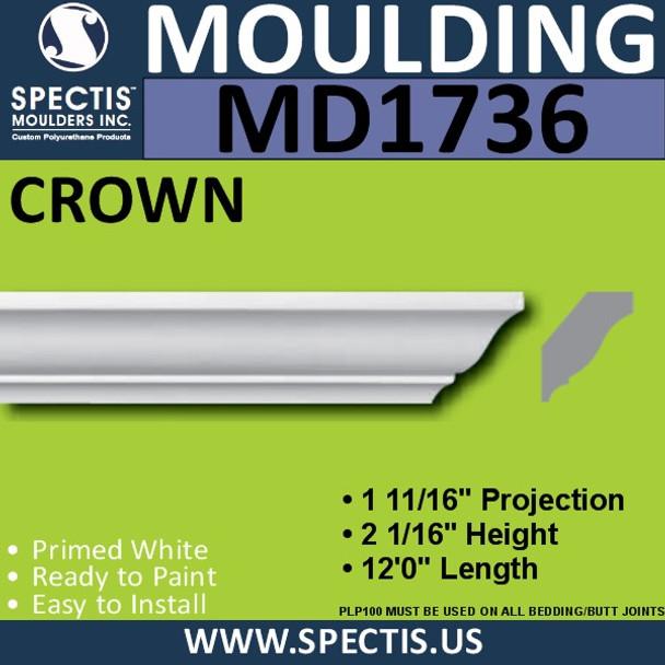 """MD1736 Spectis Crown Molding Trim 1 11/16""""P x 2 1/16""""H x 144""""L"""