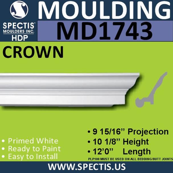 """MD1743 Spectis Crown Molding Trim 9 15/16""""P x 10 1/8""""H x 144""""L"""