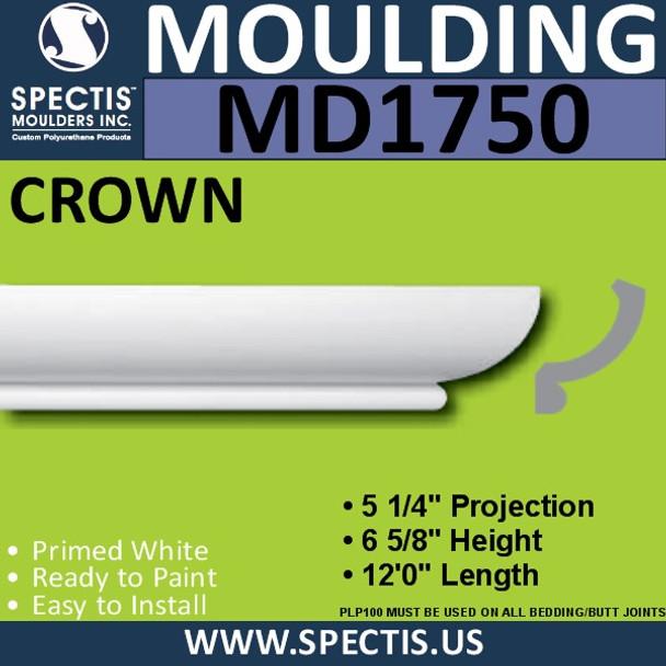 """MD1750 Spectis Crown Molding Trim 5 1/4""""P x 6 5/8""""H x 144""""L"""