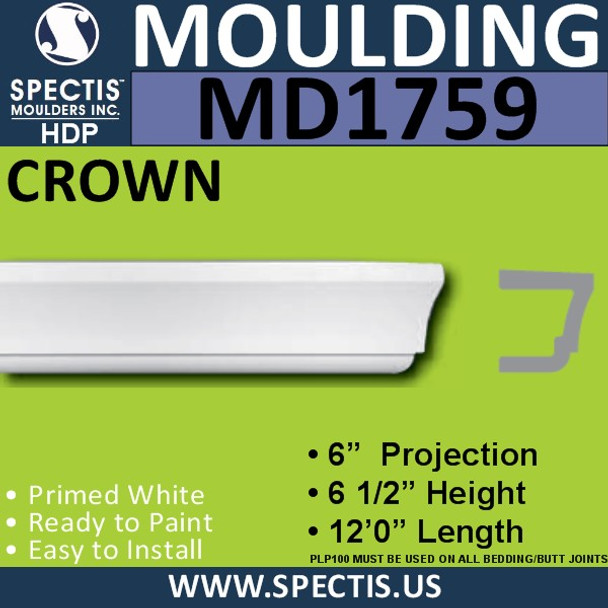 "MD1759 Spectis Molding Band Trim 6""P x 6.5""H x 144""L"