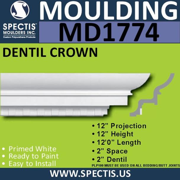 """MD1774 Spectis Crown Molding Trim 12""""P x 12""""H x 144""""L"""