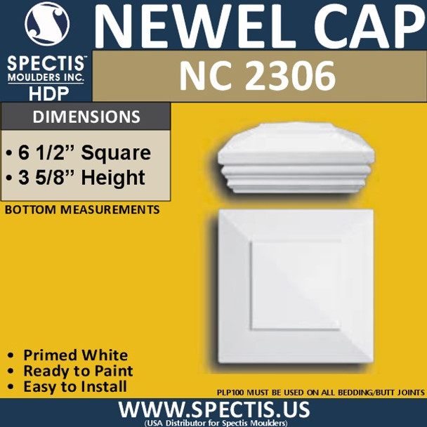 "NC2306 Urethane Newel Cap 6.5"" W x 3.6"" H"