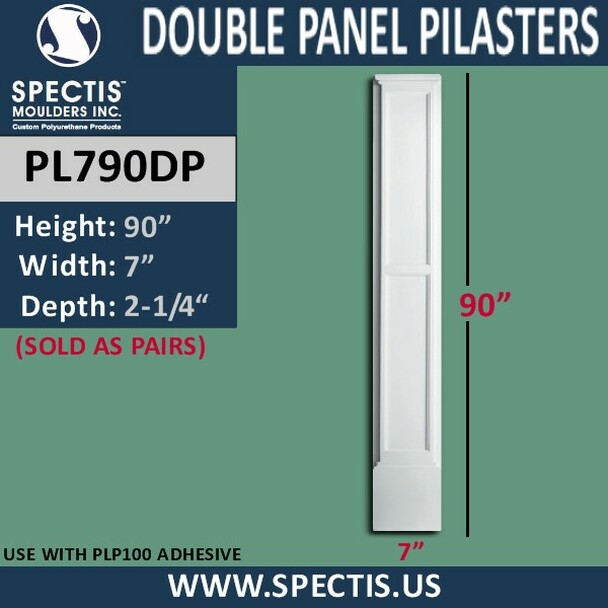 "PL790DP Double Panel Pilasters Spectis Urethane 7"" x 90"""