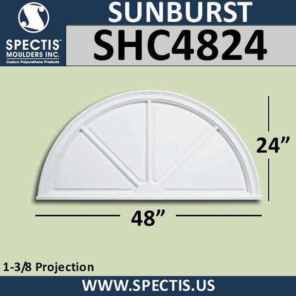 "SHC4824 Sunburst 1 3/8""P X 48""W X 24""H"