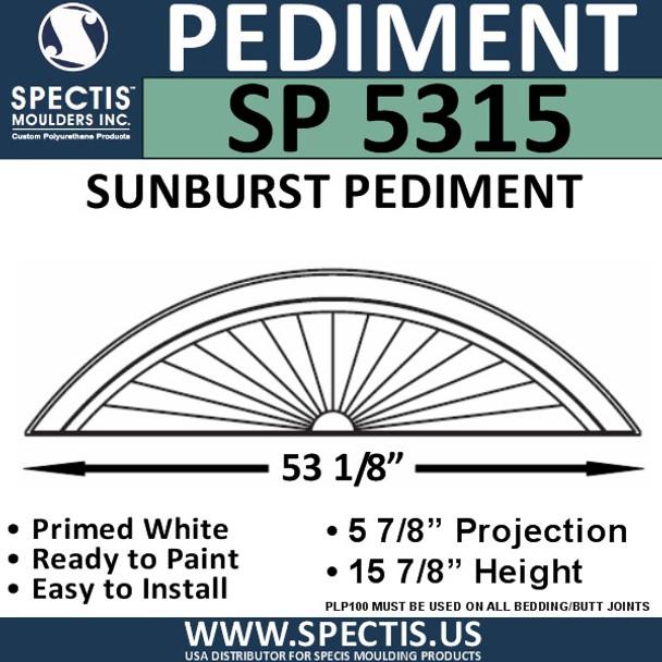 "SP5315 Sunburst Pediment 54 11/16"" x 15 7/8"""