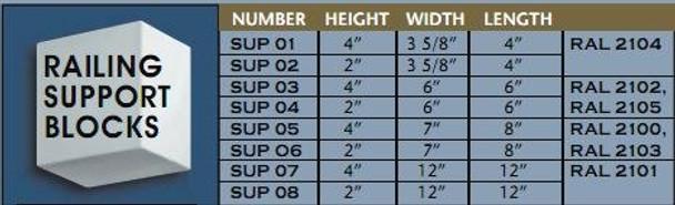 "SUP01 Railing Support Block - 4""H X 3 5/8""W X 4""L"