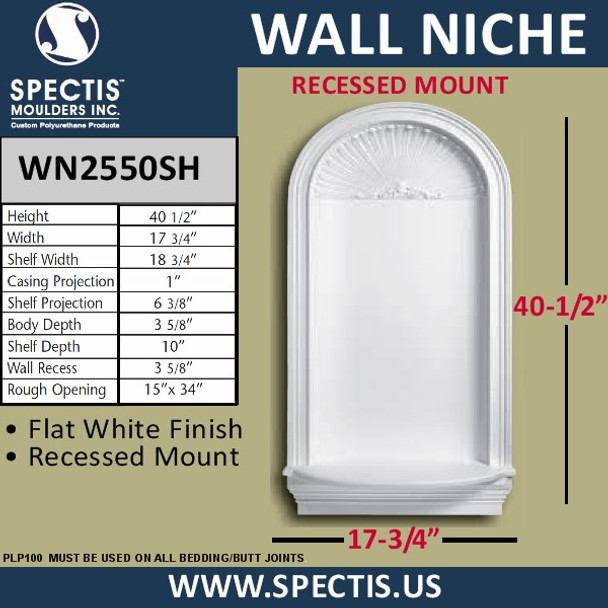 """WN2550SH In-Wall Niche with Shell Top 17 3/4"""" x 40 1/2"""""""