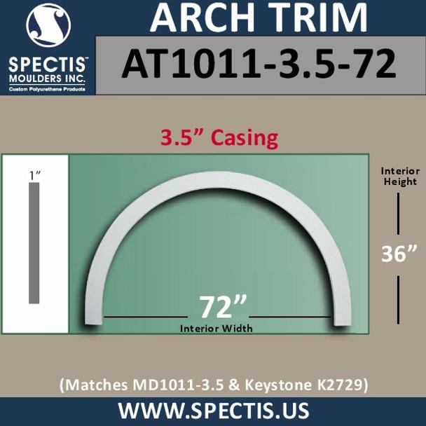 "AT1011-3.5-72 Flat Trim Urethane Door or Window Arch 72"" ID"