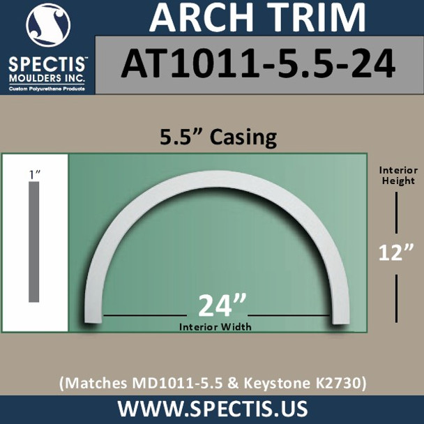 "AT1011-5.5-24 Flat Trim Urethane Door/Window Arch 5.5"" x 24"" ID"