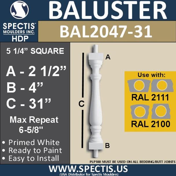 "BAL2047-31 Spectis Urethane Railing Baluster 5 1/4"" x 31"""