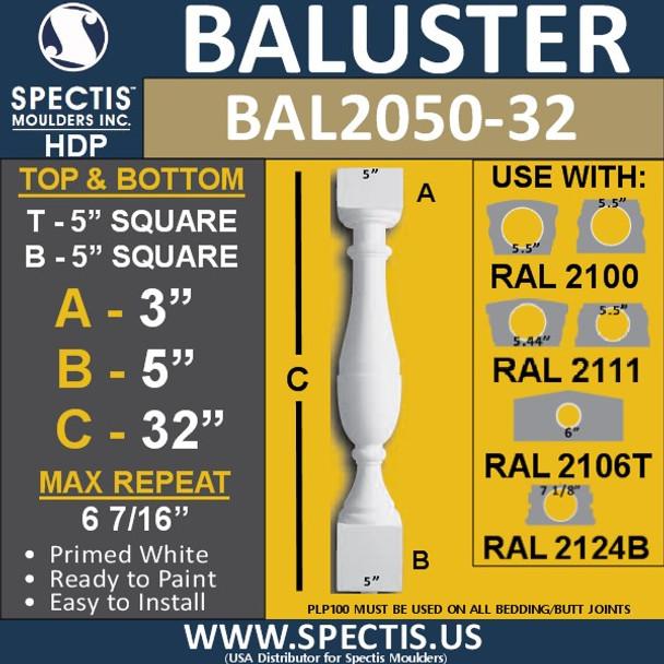 "BAL2050-32 Spectis Urethane Railing Baluster 5"" x 32"""