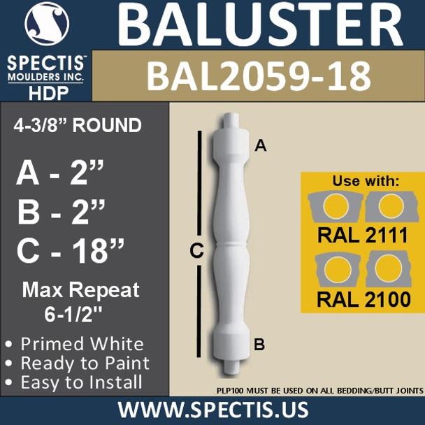 "BAL2059-18 Spectis Urethane Railing Baluster 4 3/8"" x 18"""