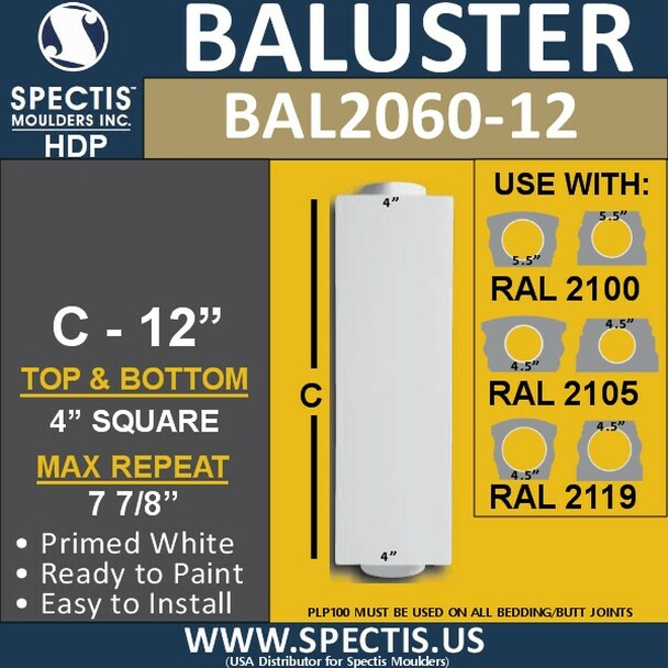 "BAL2060-12 Spectis Urethane Block Railing Baluster 4"" x 12"""