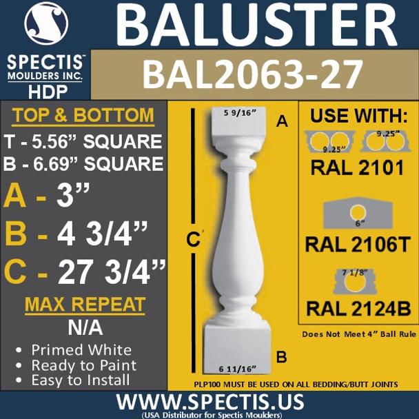 "BAL2063-27 Spectis Urethane Railing Baluster 5 9/16"" x 27 3/4"""