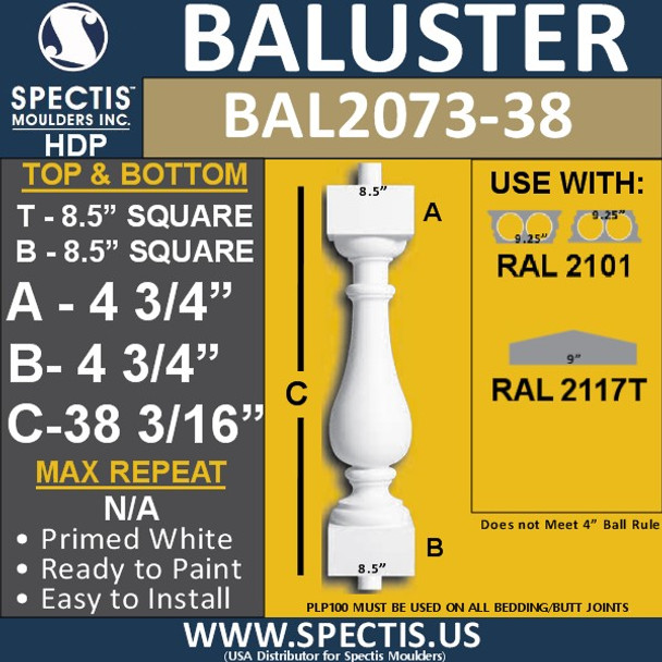 "BAL2073-38 Spectis Urethane Railing Baluster 8 1/2"" x 38 3/16"""