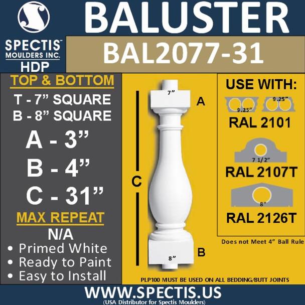 """BAL2077-31 Large Urethane Railing Baluster 7"""" x 31"""""""