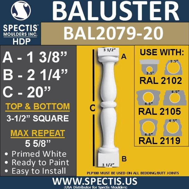 "BAL2079-20 Spectis Urethane Railing Baluster 3 1/2"" x 20"""