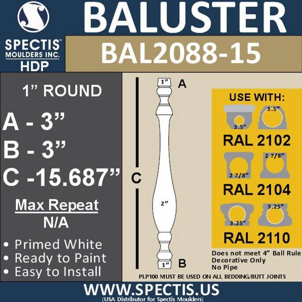 "BAL2088-15 Traditional Urethane Railing Baluster 2"" x 15 11/16"""