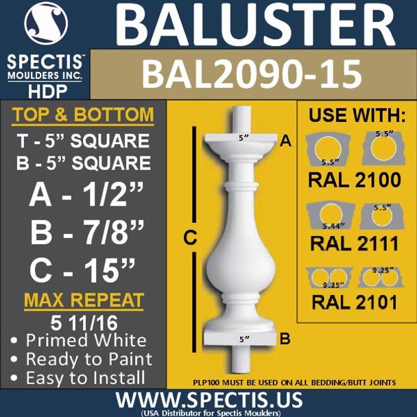 "BAL2090-15 Spectis Urethane Railing Baluster 5"" x 15"""
