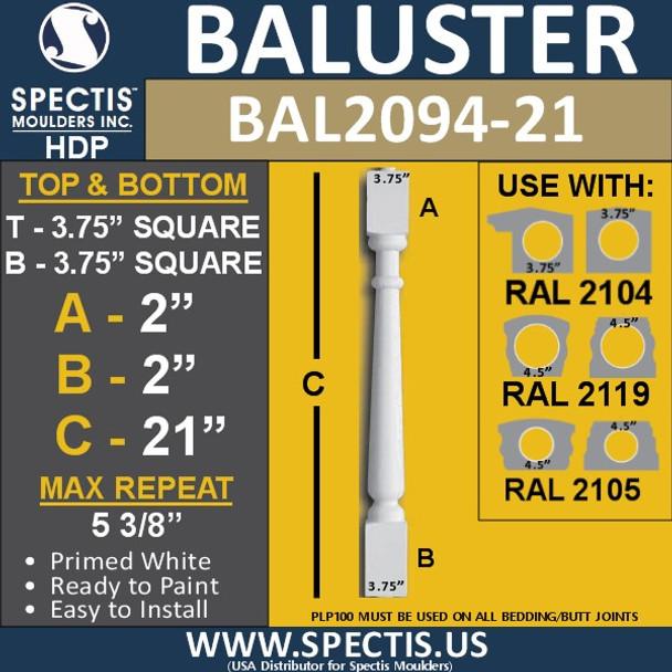 "BAL2094-21 Spectis Urethane Railing Baluster 3 3/4"" x 21"""