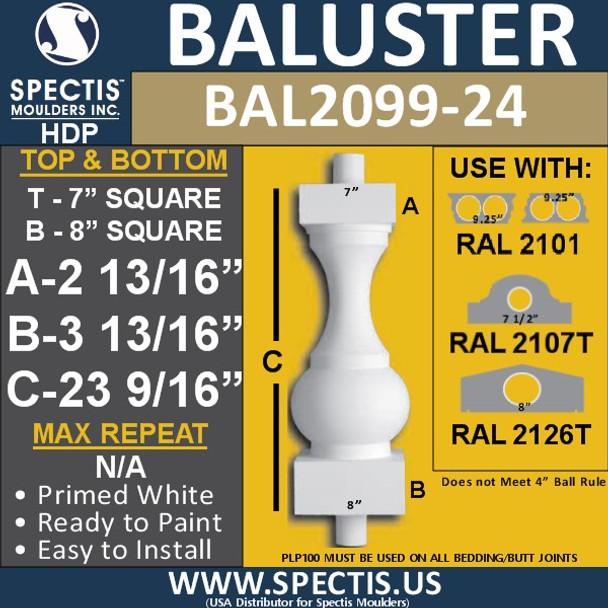 "BAL2099-24 Spectis Urethane Railing Baluster 7"" x 23 9/16"""