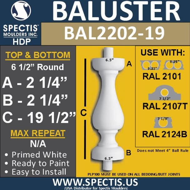 "BAL2202-19 Spectis Urethane Railing Baluster 6 1/2"" x 19 1/2"""