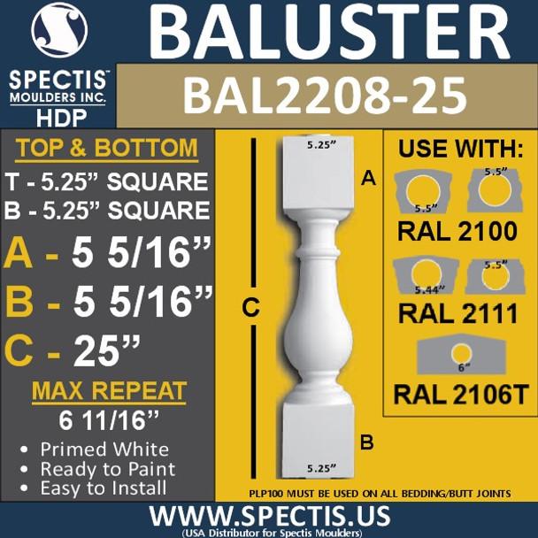 "BAL2208-25 Spectis Urethane Railing Baluster 5 1/4"" x 25"""
