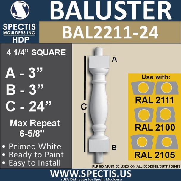 "BAL2211-24 Spectis Urethane Railing Baluster 4 1/4"" x 24"""
