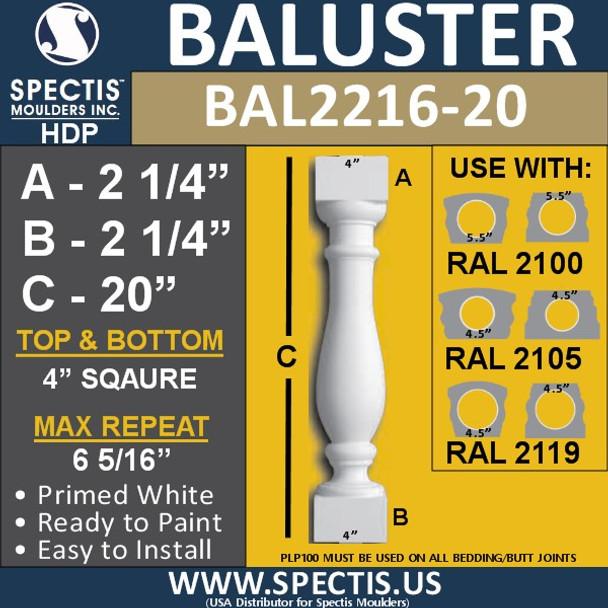 "BAL2216-20 Spectis Urethane Railing Baluster 4"" x 20"""
