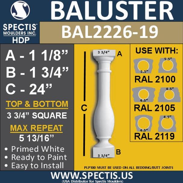 "BAL2226-19 Spectis Urethane Railing Baluster 3 3/4"" x 19 1/4"""