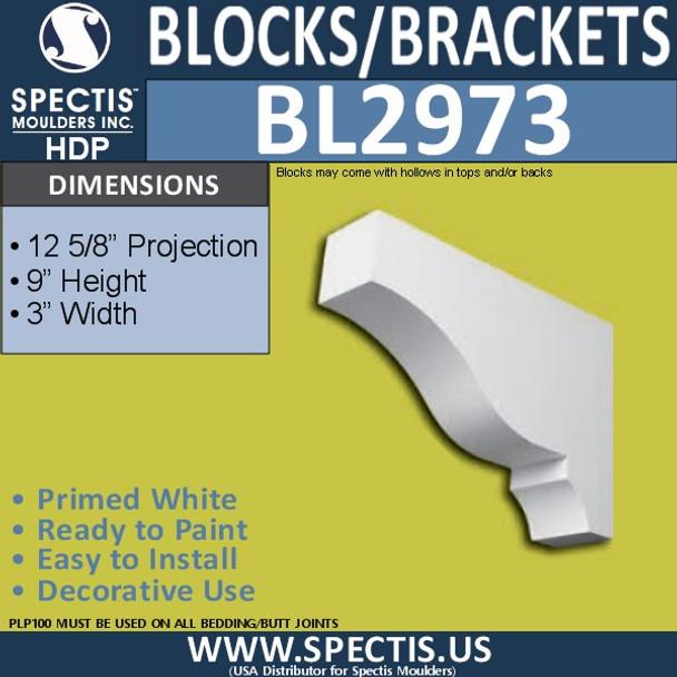 "BL2973 Eave Block or Bracket 3""W x 9""H x 12.63"" P"
