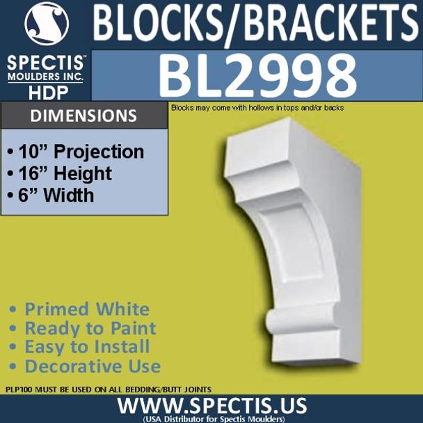 "BL2998 Eave Block or Bracket 6""W x 16""H x 10"" P"