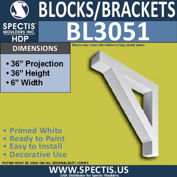 "BL3051 Eave Block or Bracket 6""W x 36""H x 36"" P"