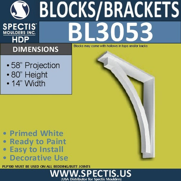 "BL3053 Eave Block or Bracket 14""W x 80""H x 58"" P"