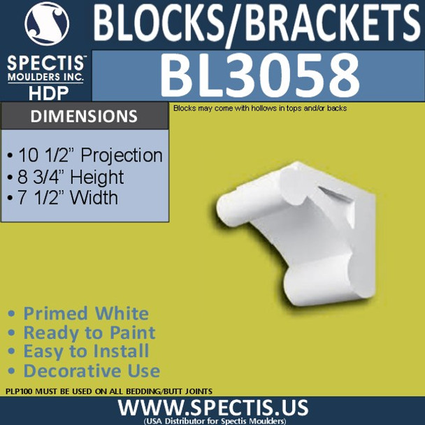 "BL3058 Eave Block or Bracket 7.5""W x 10.5""H x 8.75"" P"